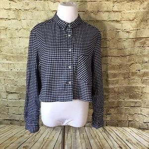 American Apparel Cropped Check Button-Up
